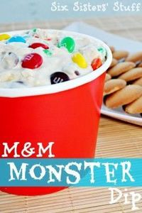 M & M Monster Dip (8 oz cream cheese 1/2 cup Butter 1/2 cup Peanut Butter 1 to 2 cups of Powdered Sugar 3 Tbs of Brown Sugar 3 Tbs of flour 1 tsp of vanilla 1 cup of oats 2 cups of Plain M & M 1 cup of Milk Chocolate Chips)