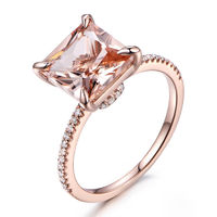 Big 8mm Princess Cut Morganite and Diamond Engagement Ring 14k Rose gold Curved Basket Claw Prongs