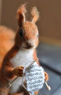 thingsimakewithstring: It's a knitting squirrel