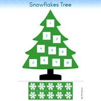Winter Tree Snowflakes and Numbers 1 to 10 Preschool Printable Activity