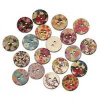 Pack of 50 Assorted Wooden Floral Buttons. 15mm Diameter. Round and Pale Printed Fasteners for Clothes, Shoes, Sewing, Art and Needle Craft. £2.99
