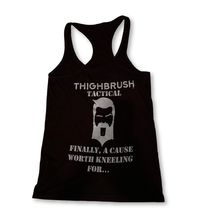 """THIGHBRUSH® TACTICAL - """"Finally, A Cause Worth Kneeling For..."""" Women's Tank Top - Black and Silver"""