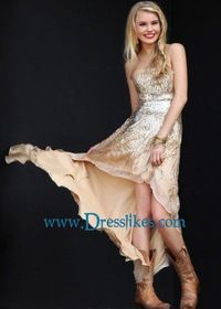 2014 Gold Silver Sequined Nude Strapless Chiffon Hi-lo Evening Dresses