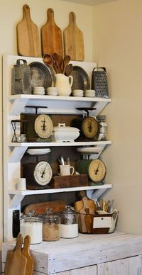 Vintage door shelf decor, love the scale collection!