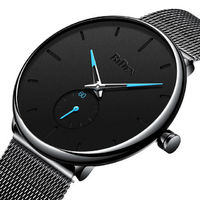 Biden 0124 Ultra Thin Casual Style Men Wrist Watch Mesh Stainless Steel Strap Quartz Watches