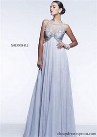 Long Pleated Empire Sherri Hill 11111 Beaded Evening Gown