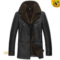 Shearling Lined Leather Coat for Men CW856125