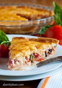 """Tomato Pie Recipe ~ Says: This delicious savory pie combines fresh tomatoes, basil and sweet onions in a pie crust with a zesty topping of sharp cheddar cheese, mayonnaise and a little bit of hot sauce. This tomato pie is so delicious �€"""" it&rs..."""