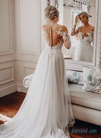 H0499 Sexy bateau neckline sheer back tulle wedding dress More Details: https://tinyurl.com/ych5xh85
