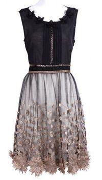 Black Bead Embroidery Applique Dress.