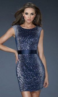 Short Navy High Neck Sequins Prom Dresses 2013