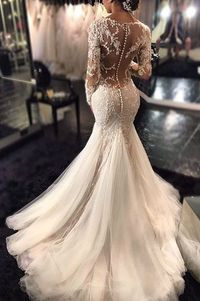 2016 Mermaid Wedding Dresses Long Sleeves Lace Beaded Sheer Back Sexy Bridal Gowns http://wedding-dress-tips.us