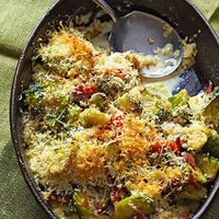 Brussels Sprouts Casserole with Pancetta and Asiago Cheese Flavorful pancetta and Brussels sprouts come together in this cheesy vegetable c...