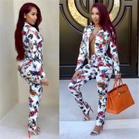 Price: $42.99 | Product: Winter Fashion Ring Diamond Print 2 Piece Long Sleeve Sexy V-Neck Pant Suit Set | Visit our online store https://ladiesgents.ca