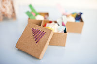 Bright embroidered favor boxes
