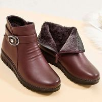 Winter Warm Fur Plush Elegant Wedge Genuine Leather Wimens Boots,NEW,on Sale!