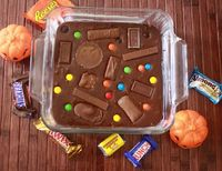 Trick or Treat Brownies Do your kids get tons of candy for halloween every year and you don't know how to use it all?  You don't want them to eat it all themselves!  Here is a great recipe to use some of your favorite halloween candy!