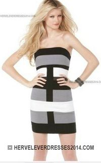 334b5889ec8 Herve Leger Black Grey Strapless Regular Stripes Bandage Dress