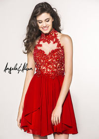 Cheap High Neck Lace Appliques Angela and Alison 42041 Hot Red