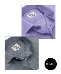 Lavender and Grey Herringbone 2 Ply Premium Giza Cotton Regular Fit Shirt Combo �'�3599.00