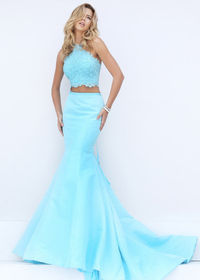 Lovely Light Blue Halter Beaded Lace Appliques Crop Top Mermaid Gown