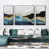 Gold line Set of 3 Wall Art mountains Peaks landscape abstract birds Art Paintings on canvas Blue Original large wall art framed painting $248.75