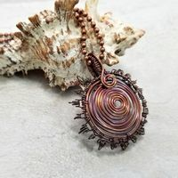 Wire Wrapped Sunburst Necklace, Copper Wire Jewelry, Mens Necklace $54.00
