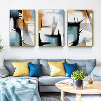 Set of 3 wall art Abstract geometric painting acrylic paintings on canvas framed painting Original art extra Large Wall Pictures $163.53