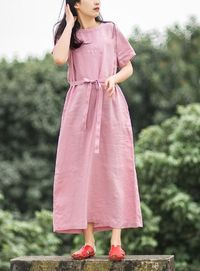 PINK SHORT SLEEVES DRESS, SUMMER MAXI DRESS, WOMAN DRESS, LINEN DRESS, KAFTAN OVERSIZE DRESS, BRIDESMAID DRESS, PLUS SIZE CLOTHING