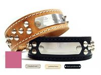Leather Dog Collars with Nameplate and Studs, Wide Dog Collars, Brown, Black or Pink Leather $54.99