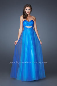 cf3a6bd87d Cheap Long La Femme 18773 EmpireStrapless Royal Aqua Prom Dresses