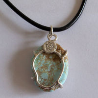 Natural Nevada Turquoise Nugget Pendant on Leather Slip Necklace $20.25