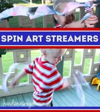 Spin art is a classic, fun activity that kids absolutely love to create! But creating streamers as a 4th of July craft was the last thing on Henry's mind. I tri
