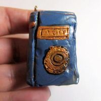 Polymer Clay Miniature Book Charm Pendant Blue and Gold Age Magic Spell Book by FantasyClay