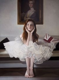 Working mostly with oil on panel, Mary Jane Ansell paints realistic portraits that have an etherealness and vulnerability to them. Notice the light and shadows