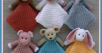 This Mini Lovey Blankie Menagerie, with their darling little faces, will capture the hearts of little ones. There are 6 animals to choose from: bear, monkey, lamb, elephant, bunny, and of course, piggy in a blanket. A choice of 2 blanket easy stitch patte...