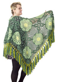 Large green lace shawl as Christmas gift for beloved mother, oversized warm clothes for women plus size $71.00