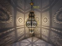 Moroccan Ceiling Lamp Modern Copper Brass Lampshade, gives a hurricane and a whirlwind of beautiful shapes on the ceiling and walls $170.00