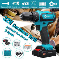 32V 2 Speed Power Drills 6000mah Cordless Drill 3 IN1 Electric Screwdriver Hammer Hand Drill 2 Battery