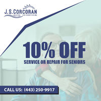 10% Off Service Or Repair For Seniors Corcoran Heating & Air is providing 10% off on service or repair for seniors.Contact us 443-250-9917 to grab the deal.
