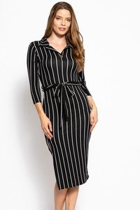Stripes Print, Midi Tee Dress With 3/4 Sleeves, Collared V Neckline, Decorative Button, Matching Belt And A Side Slit $31.51