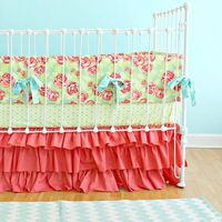 Coral Baby Girl Crib Bedding Tumbling Roses & by LottieDaBaby, $425.00
