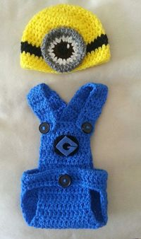 Despicable Me Minion Crochet Hat and Diaper by Knotjuststring, $36.00
