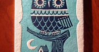 Winter Owl letterpress postcard by inkpopstudio Pinned by www.myowlbarn.com