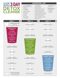 Dr. Ozs 3-Day Detox Cleanse One-Sheet - I HIGHLY recommend this cleanse, plus you can mix and match the ingredients in the smoothies depending on what you already have in your fridge, dp