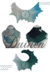 Duinen - free German crochet shawl pattern with chart by Jasmin Räsänen. English translation to follo