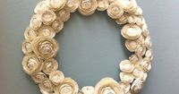 Like but would not pay this price!!! Paper Ranunculus Wreath in Ivory by sunnyandstumpy on Etsy, $350.00