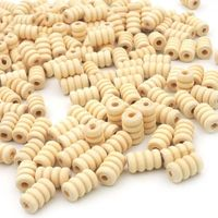 Pack of 50 Natural Wood Coil Beads. 13mm x 7mm Pine Wooden Tubes £5.59