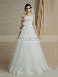 STRAPLESS TULLE A LINE WEDDING DRESS WITH EXQUISITELY APPLIQUED BODICE AND HEM