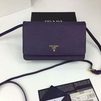 Prada 1M1361 Lettering Logo Saffiano Leather Wallet In Purple